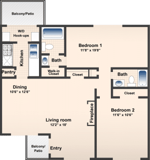 2 Bed / 2 Bath / 1111 ft² / Availability: Please Call / Deposit: $350