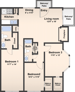 3 Bed / 2 Bath / 1250 ft² / Availability: Please Call / Deposit: $400